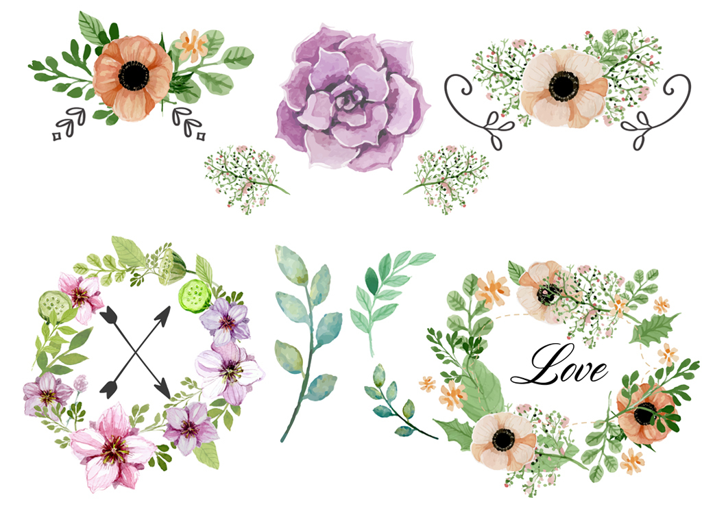 手绘水彩植物花卉花环设计元素手绘花.