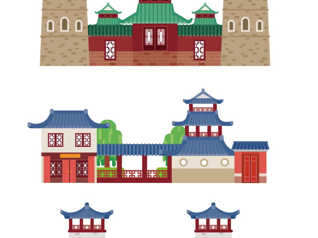 中国风建筑剪影商店手绘卡通店铺桥寺.图片设计素材