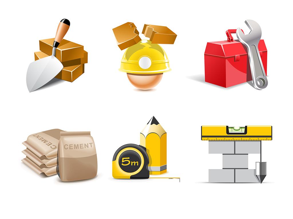 设计元素 标志丨符号 立体建筑施工主题图标矢量素材