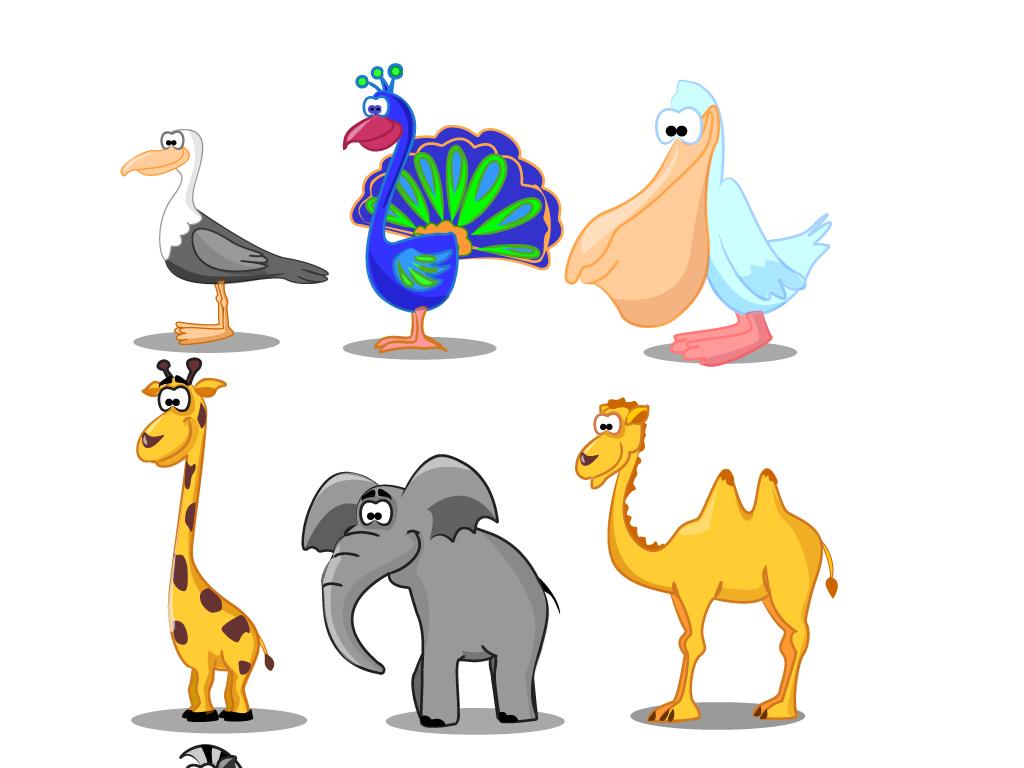 创意手绘卡通小动物陆地长颈鹿兔子马.