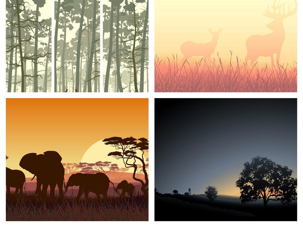 北欧风格树木森林剪影动物大山夜景
