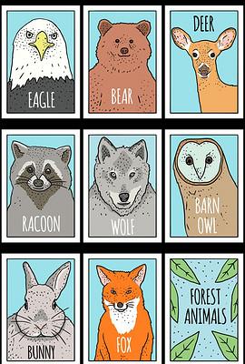简约森系手绘动物装饰画插画背景元素