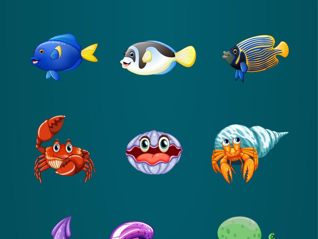 海报设计素材海洋动物海马热带鱼螃蟹.