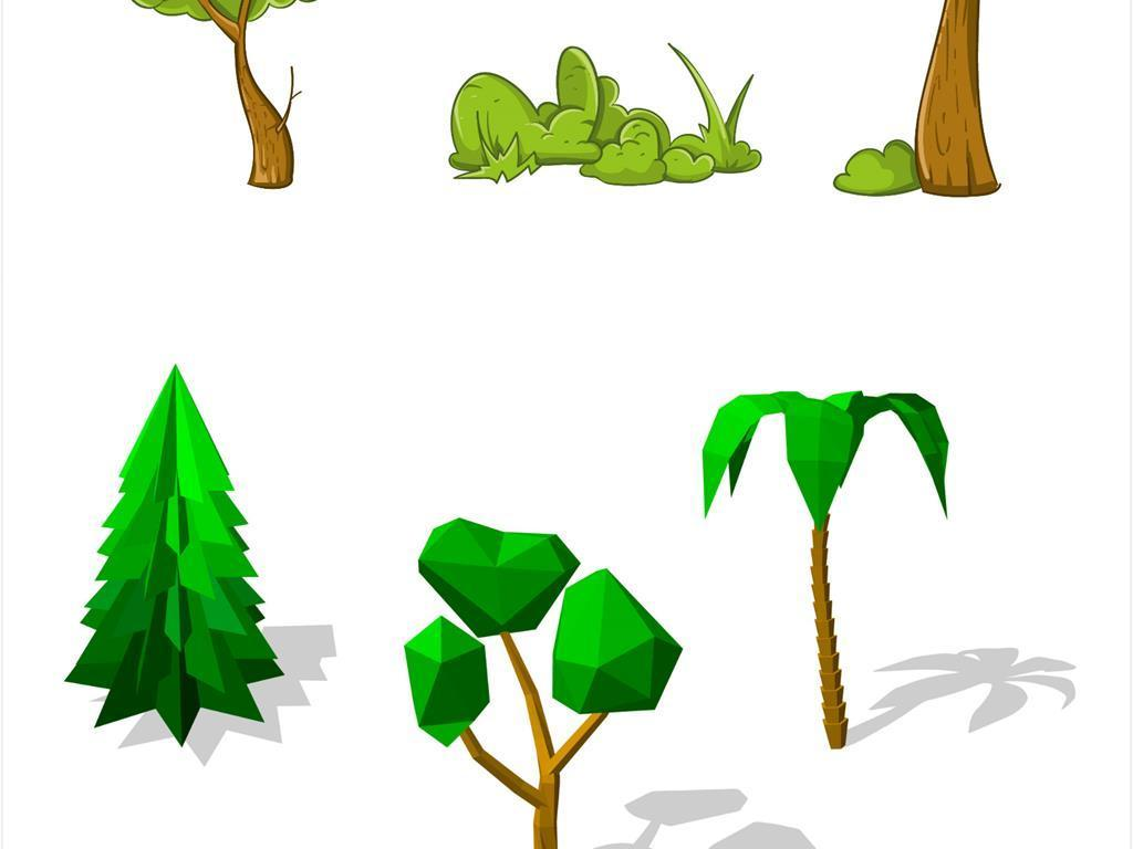 手绘卡通树木森林小树