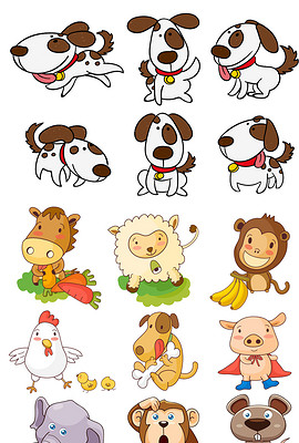 卡通动物插画矢量素材手绘动物png免扣