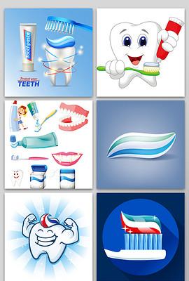 卡通牙齿主题爱护牙齿矢量素材