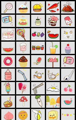 卡通弹幕素材字幕手势吃的食物水果面包