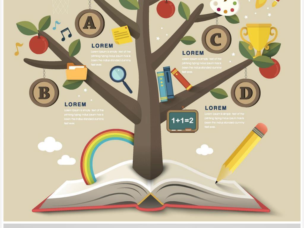 手绘生态大树创意素材统计图表素材
