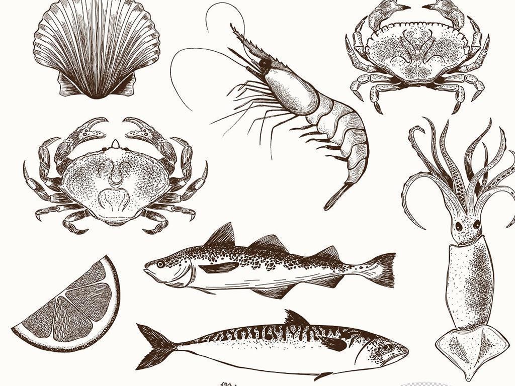手绘海鲜粉笔画