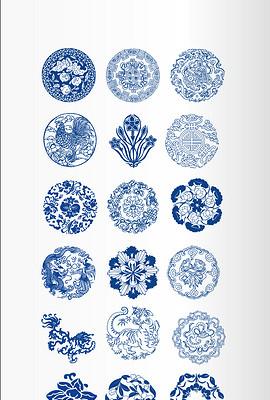 海报背景素材传统青花瓷中国风传统花样花纹