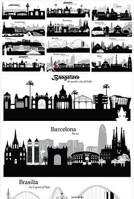 手绘世界大城市剪影图片