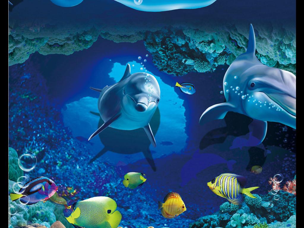 蓝底海洋海底世界宣传海报设计