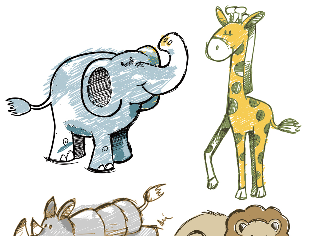 2017手绘涂鸦可爱卡通动物铅笔画.