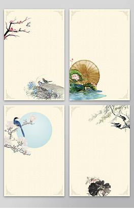 新中式花鸟画背景设计模板