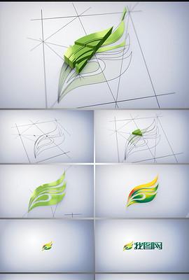 三维图纸挤压生长LOGO动画片头AE模板