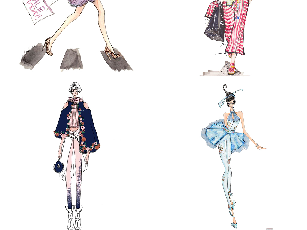 手绘彩绘卡通时尚美女png素材