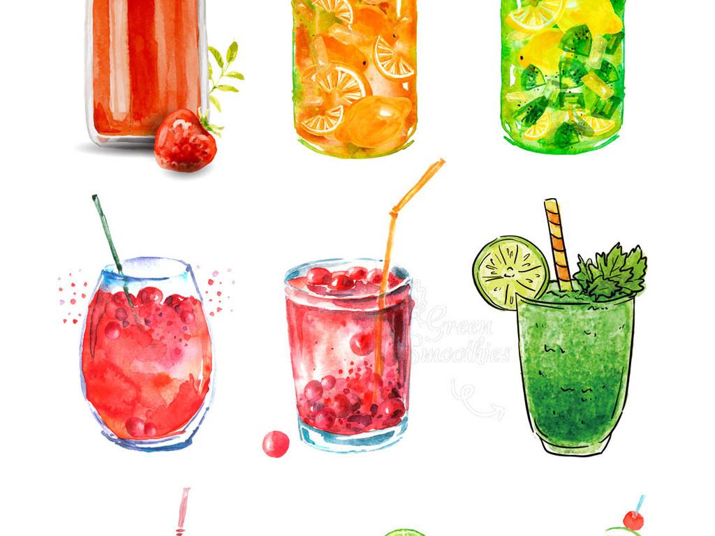 清新水彩手绘果汁特饮促销素材