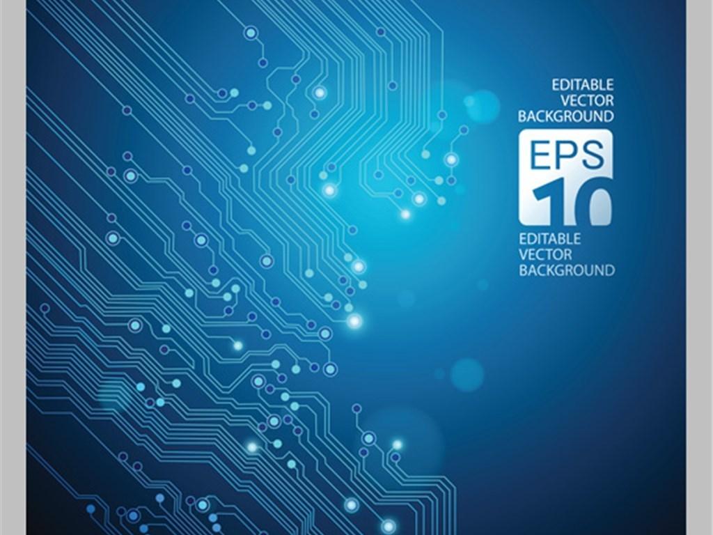 电路板蓝色科技芯片合集图片设计素材_高清eps模板(17