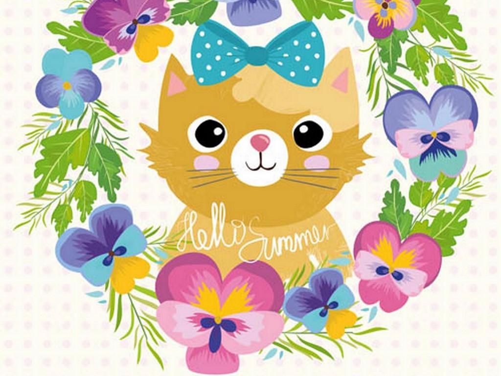 可爱猫咪手绘水彩森林动物矢量素材