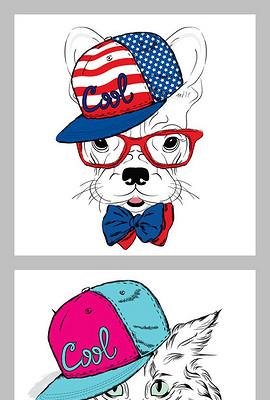 手绘卡通动物北欧装饰画