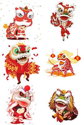 卡通新年春节舞狮子舞龙png图片