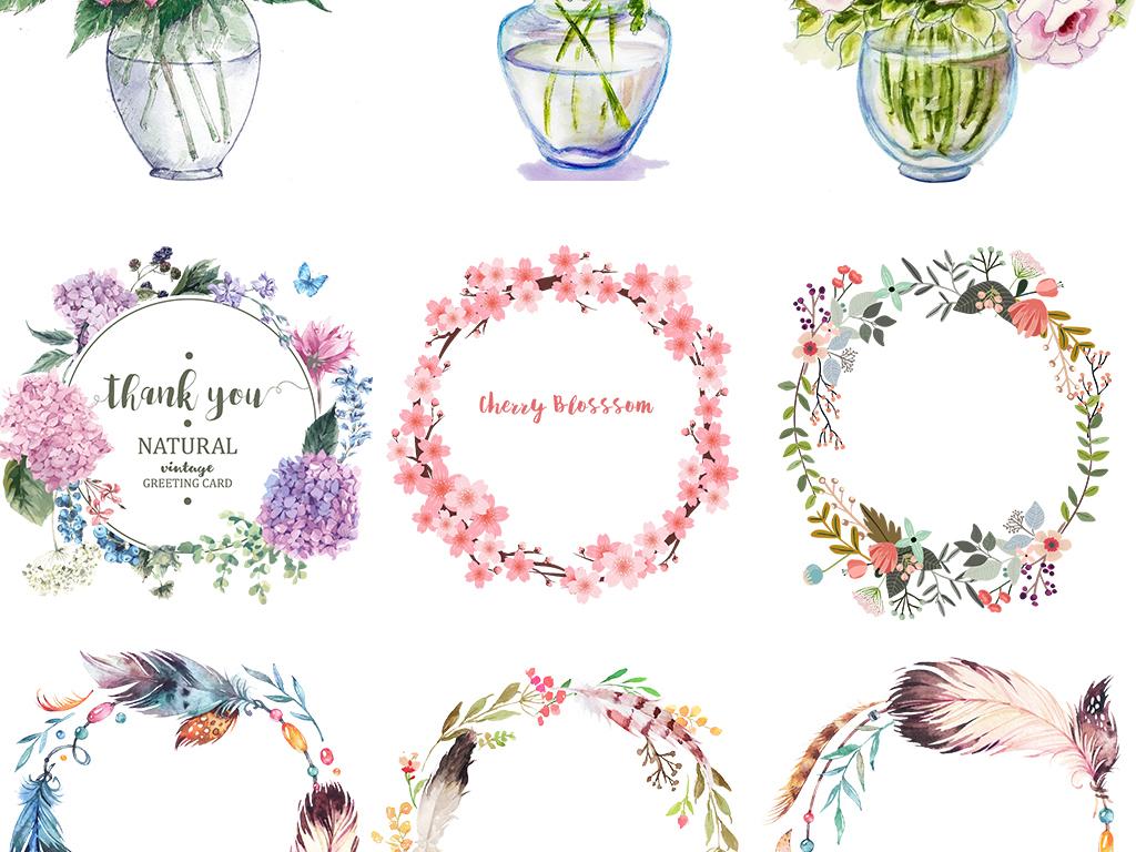 唯美手绘花卉花瓶插花花环婚礼设计素.