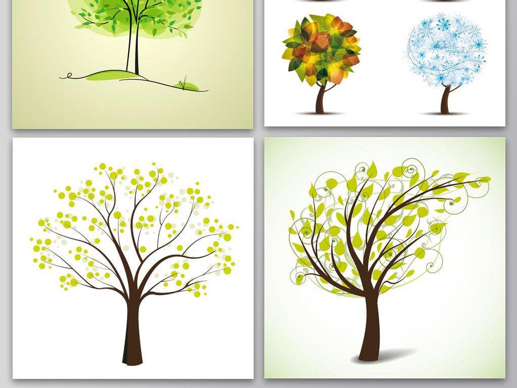 创意手绘树木大树四季矢量素材