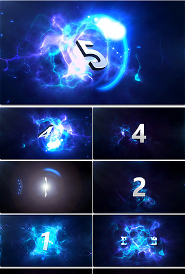3D科技蓝色灯光5秒倒计时高清视频素材