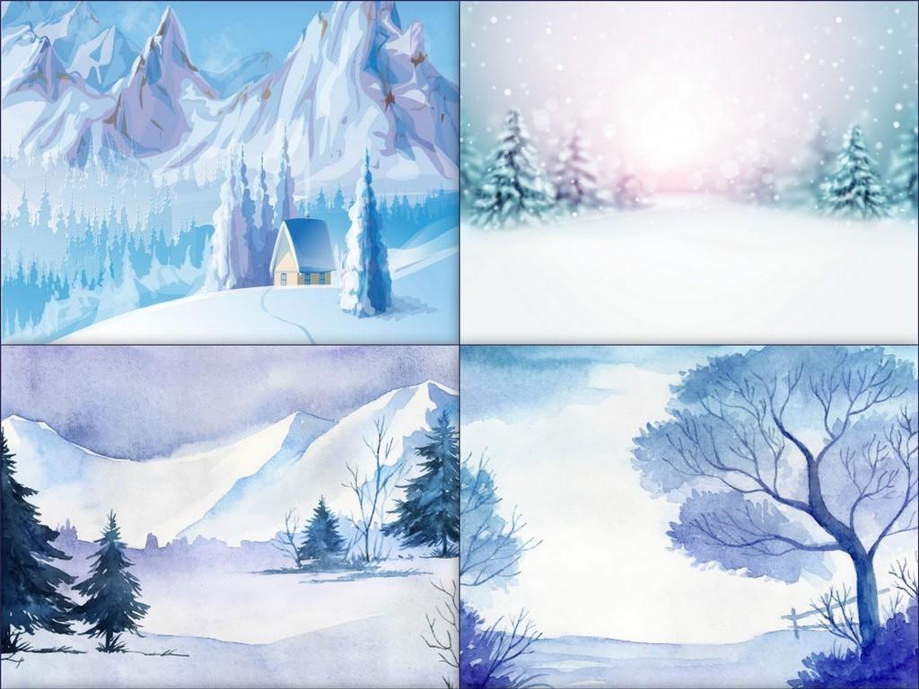 手绘冬季雪景森林插画矢量素材