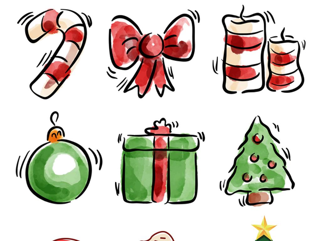 圣诞节可爱卡通装饰手绘素材