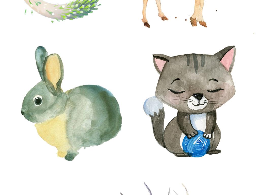 水彩动物森系手绘动物装饰画插画素材.