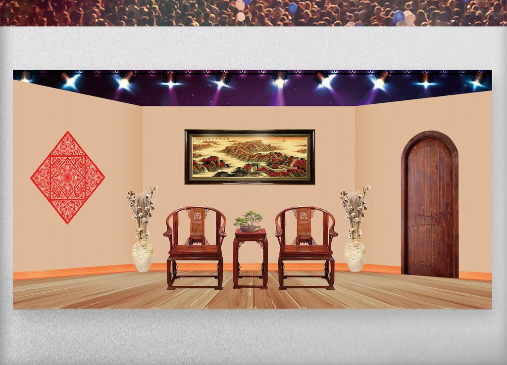 春节晚会小品舞台背景图片设计素材_高清PSD