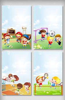手绘儿童校园运动会海报背景元素-2018足球世界杯体育运动奖杯png