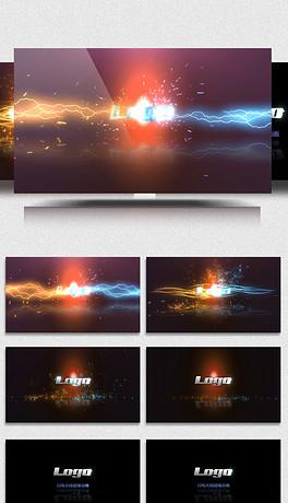 闪电光线碰撞霓虹LOGO片头动画AE模板