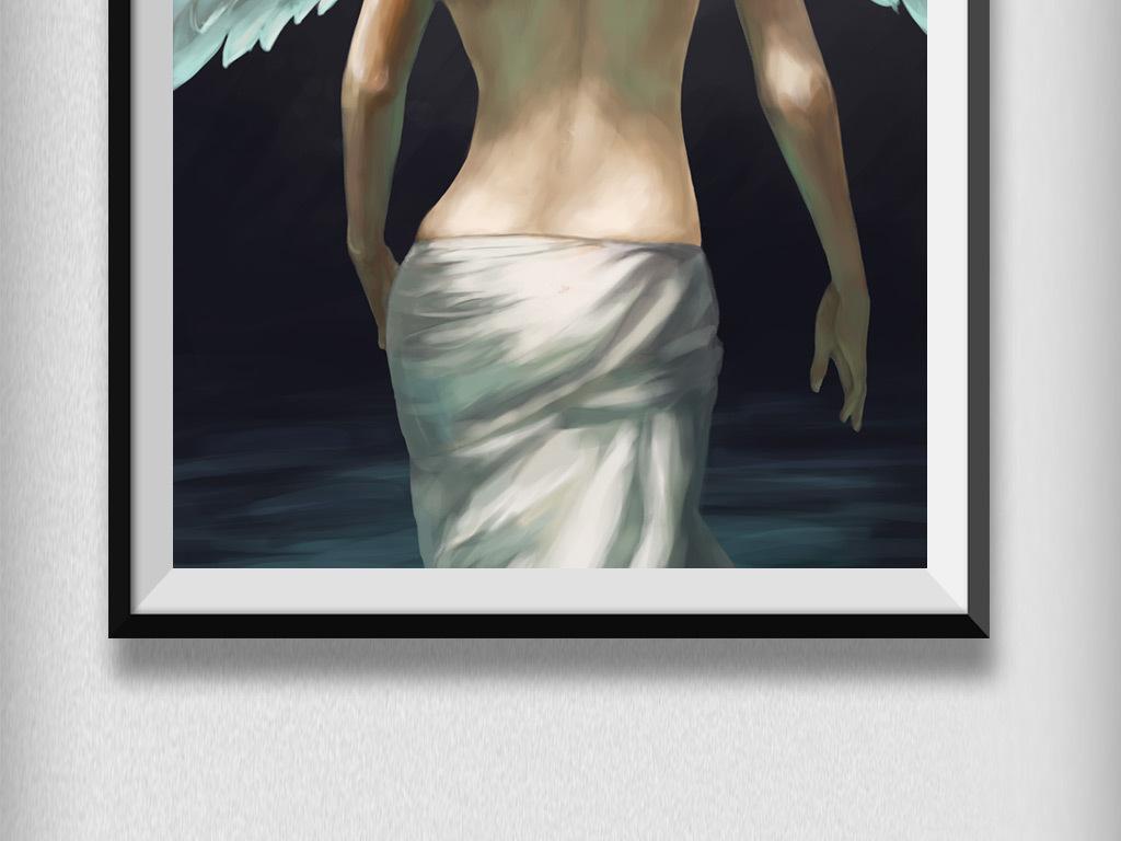 小清新梦幻女孩背影天使翅膀插画手绘.