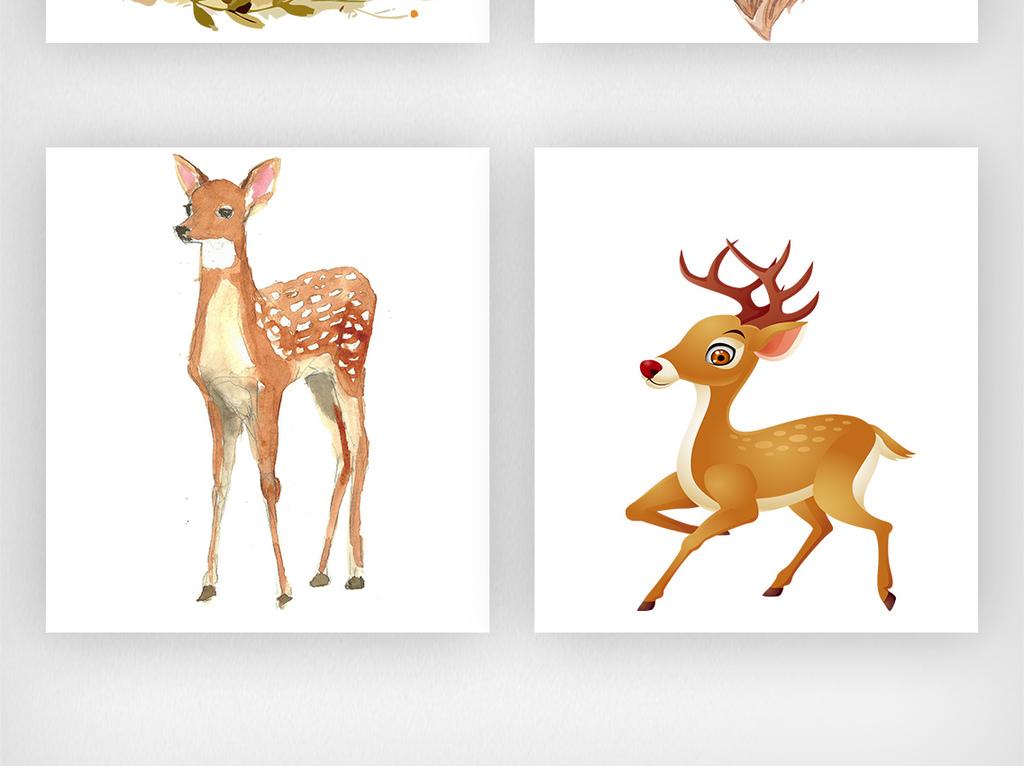 手绘水彩森林鹿麋鹿素材