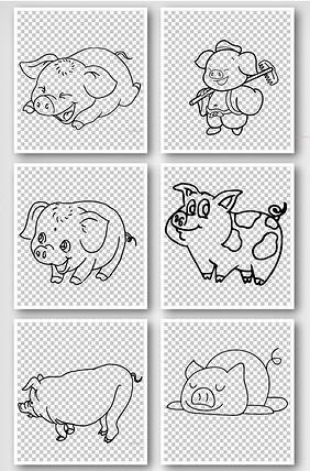 简洁手绘线条小猪元素图片