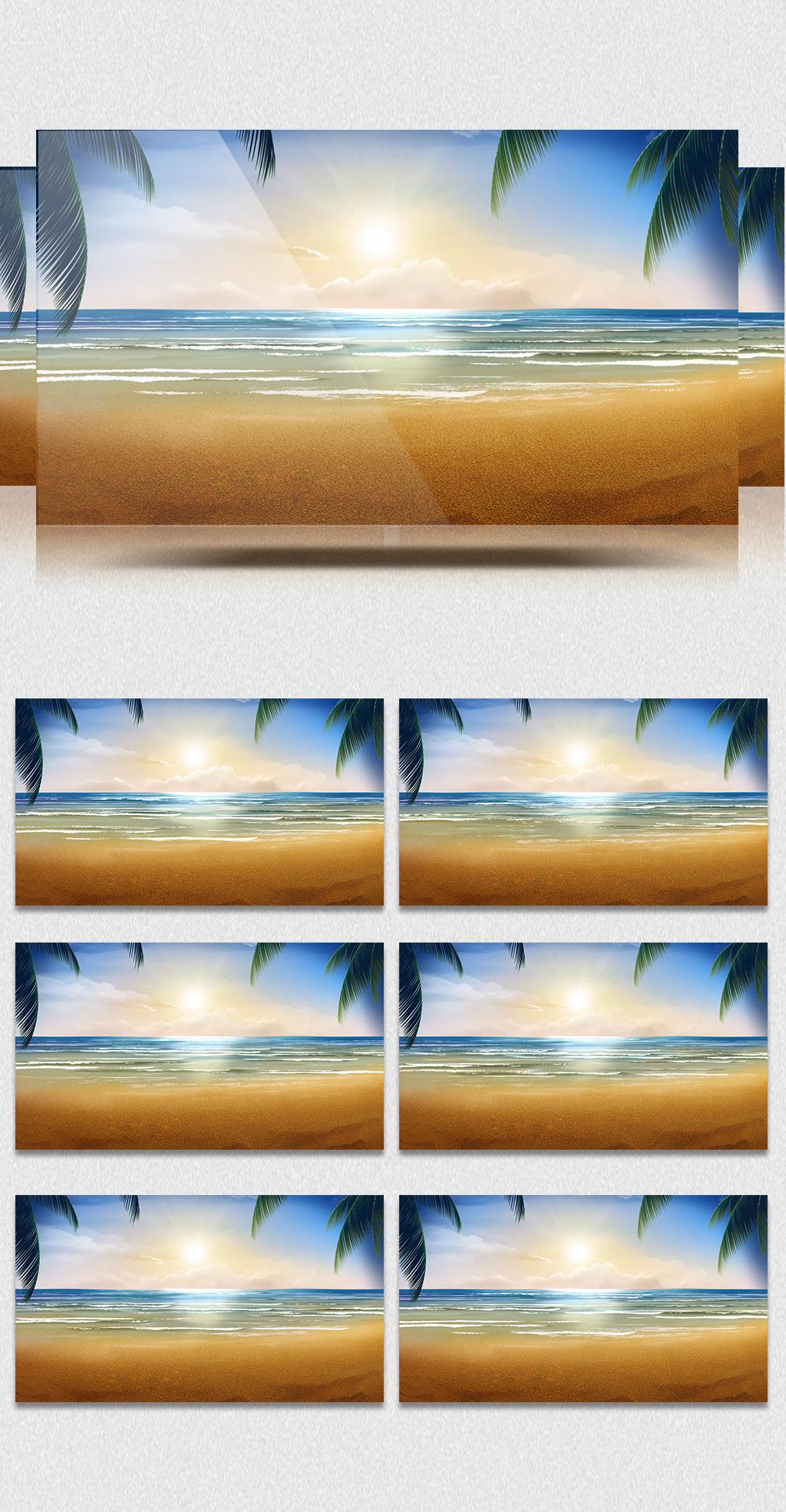 原创设计led大屏动态海浪沙滩背景视频素材无接缝可循环