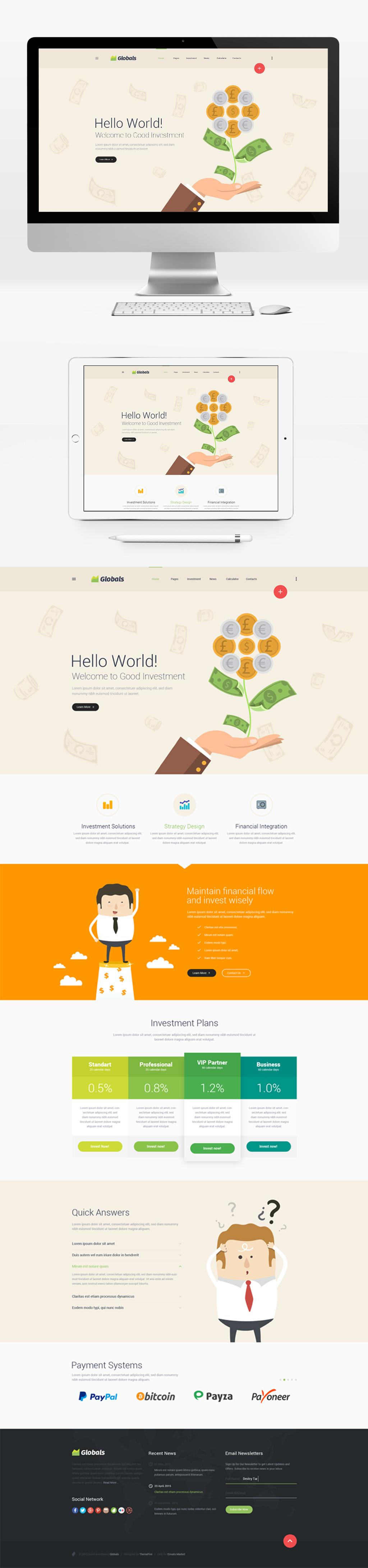 原创设计商务金融办公h5页面信息视频展示网页模板
