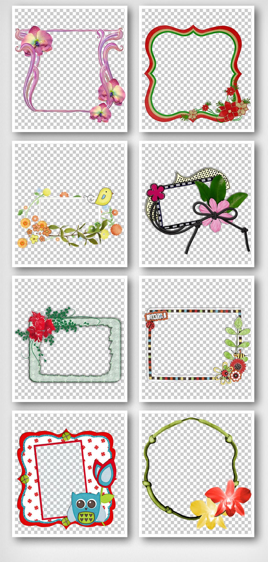 花朵相框手抄报边框元素