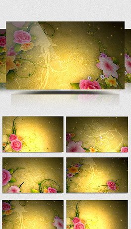 金色古典花朵生长视频素材