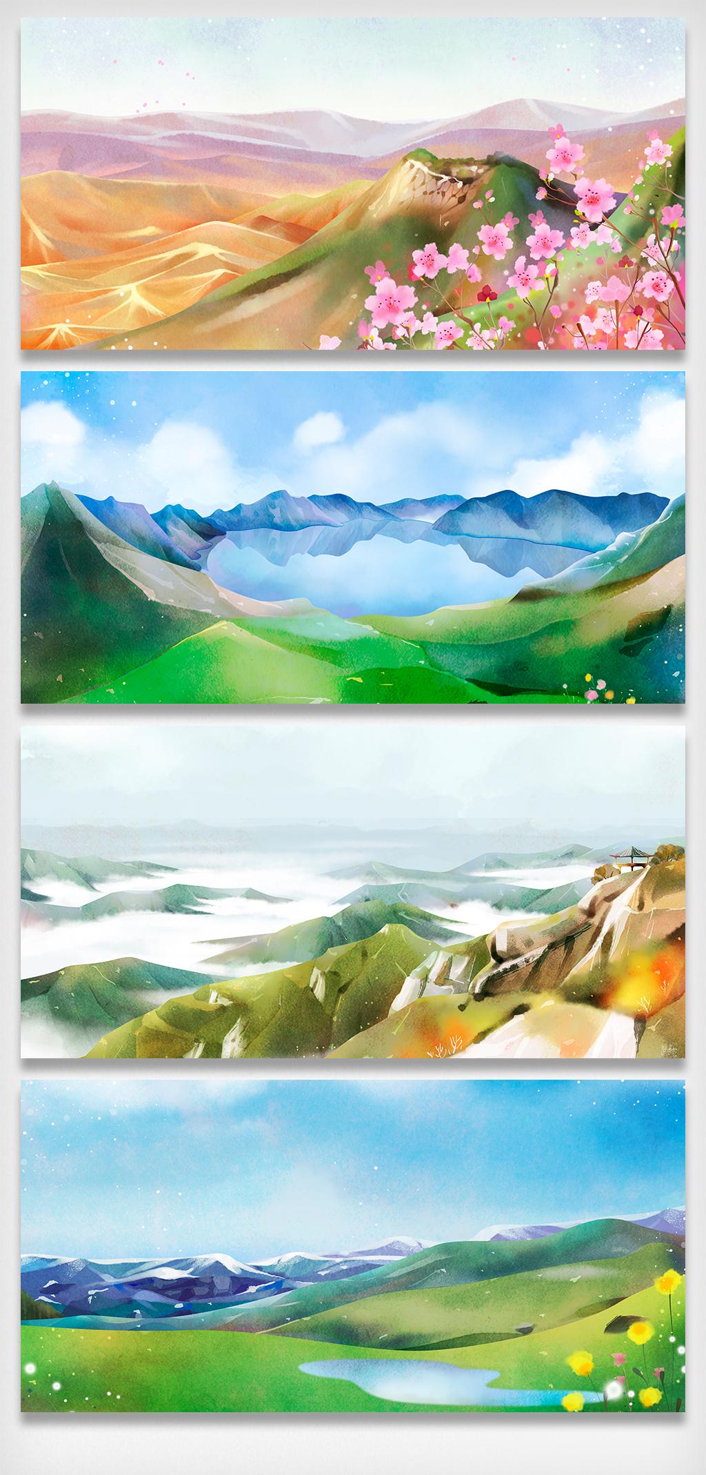 > 手绘风景水墨风景画山水展板元素   图片编号:27470067 文件格式