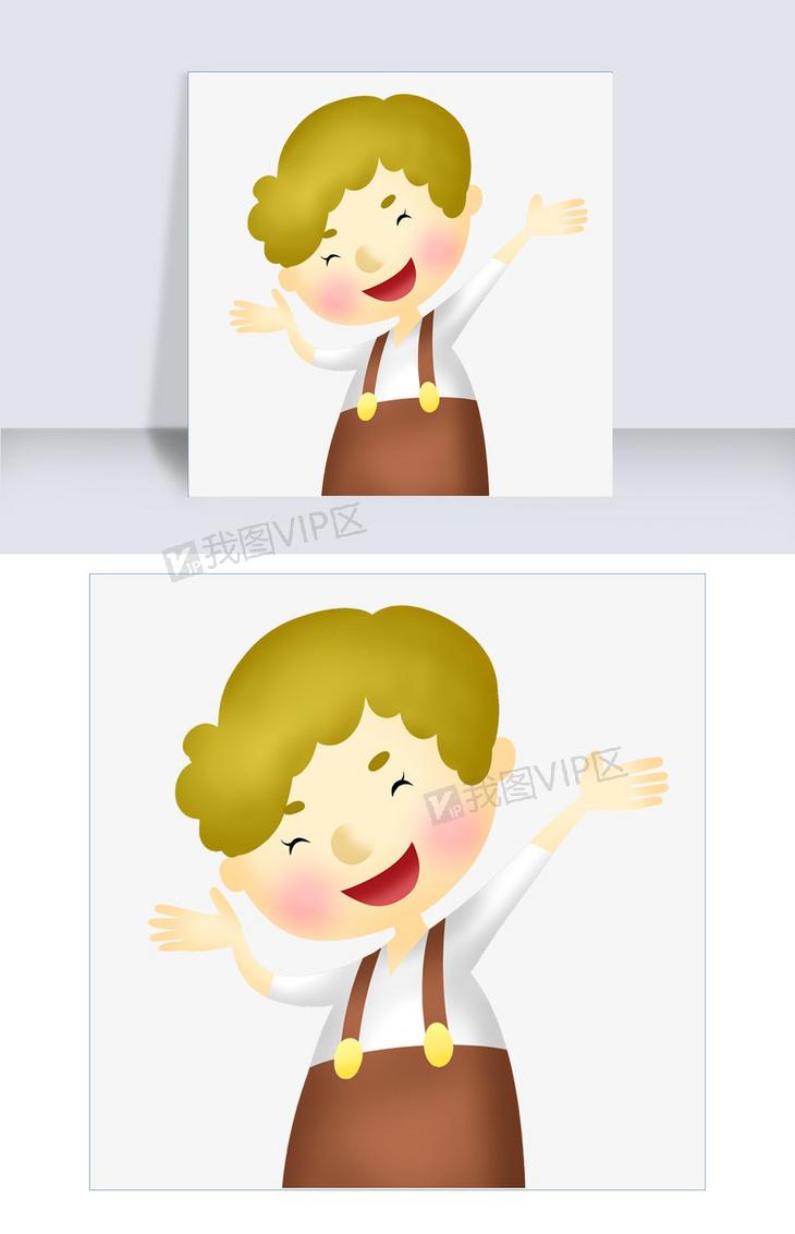 穿背带裤的小男孩手绘设计图图片素材 psb格式 下载 动漫人物大全