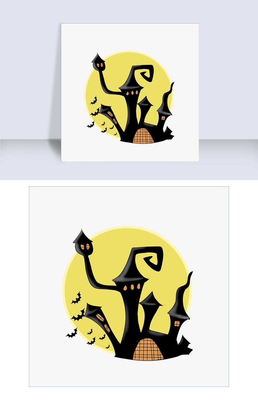 万圣节鬼屋蝙蝠插画图片素材 PSB格式 下载 动漫人物大全