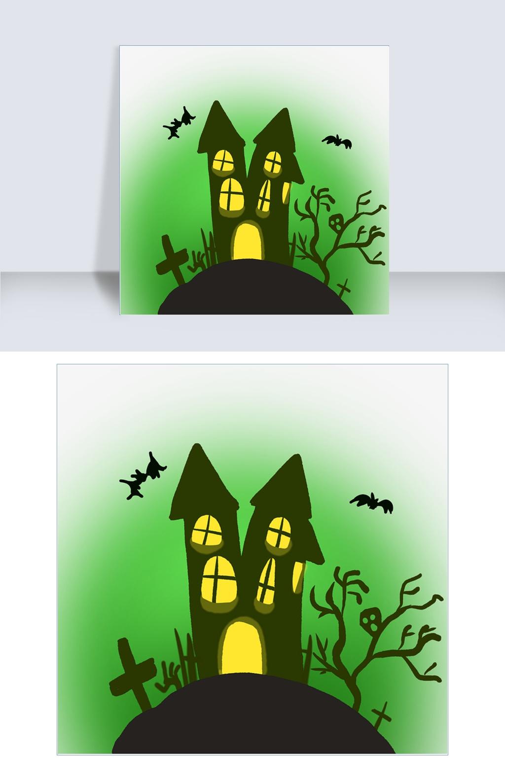 万圣节鬼屋房子插画图片素材 PSB格式 下载 动漫人物大全