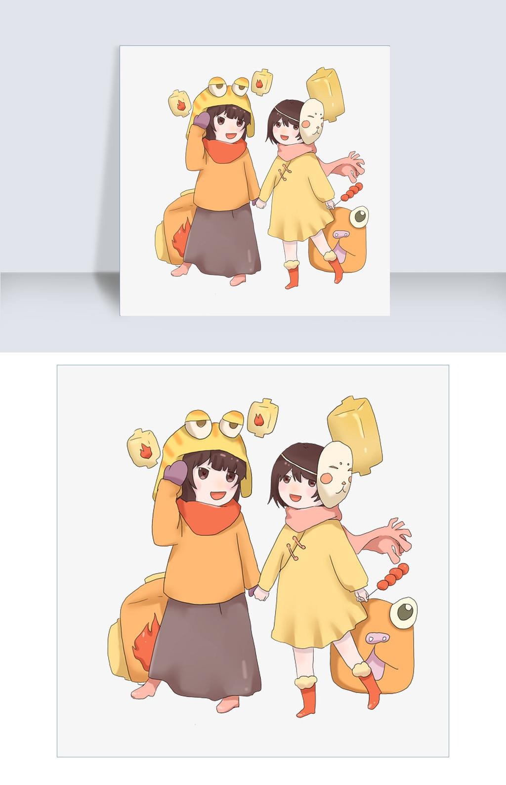 手绘新年戴面具的女孩插画图片素材 其他格式 下载 动漫人物ag8.com 开户