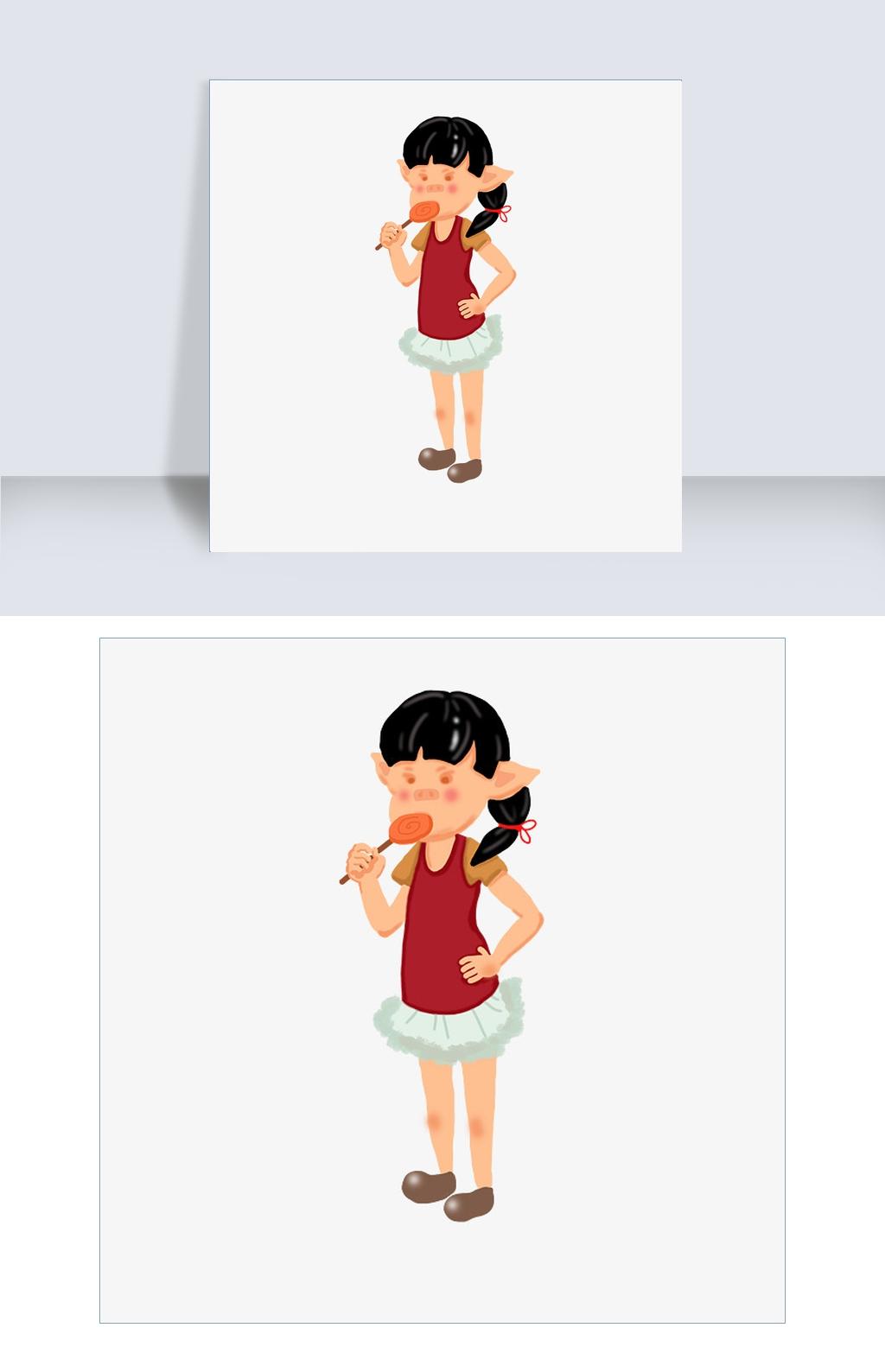 2019年猪年插图可爱猪吃棒棒糖PNG吉祥中秋上班表情图图片