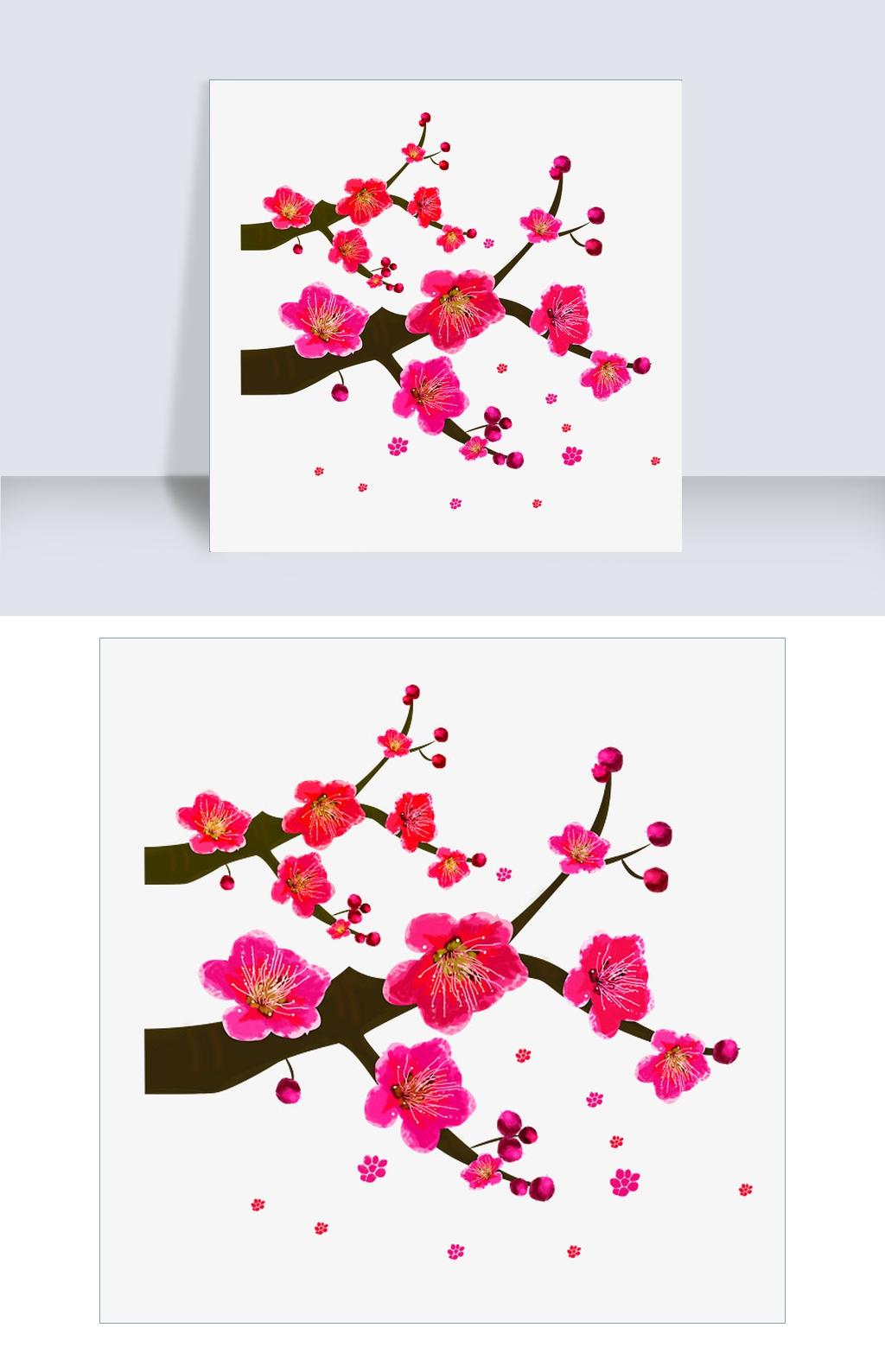 国风水墨飘舞的梅花图片素材 PSB格式 下载 动漫人物大全图片