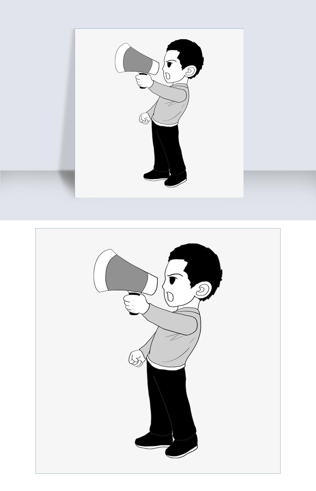 人和喇叭创意简笔画图片素材 PSB格式 下载 动漫人物狗万·公牛_狗万最小_狗万反水怎么算