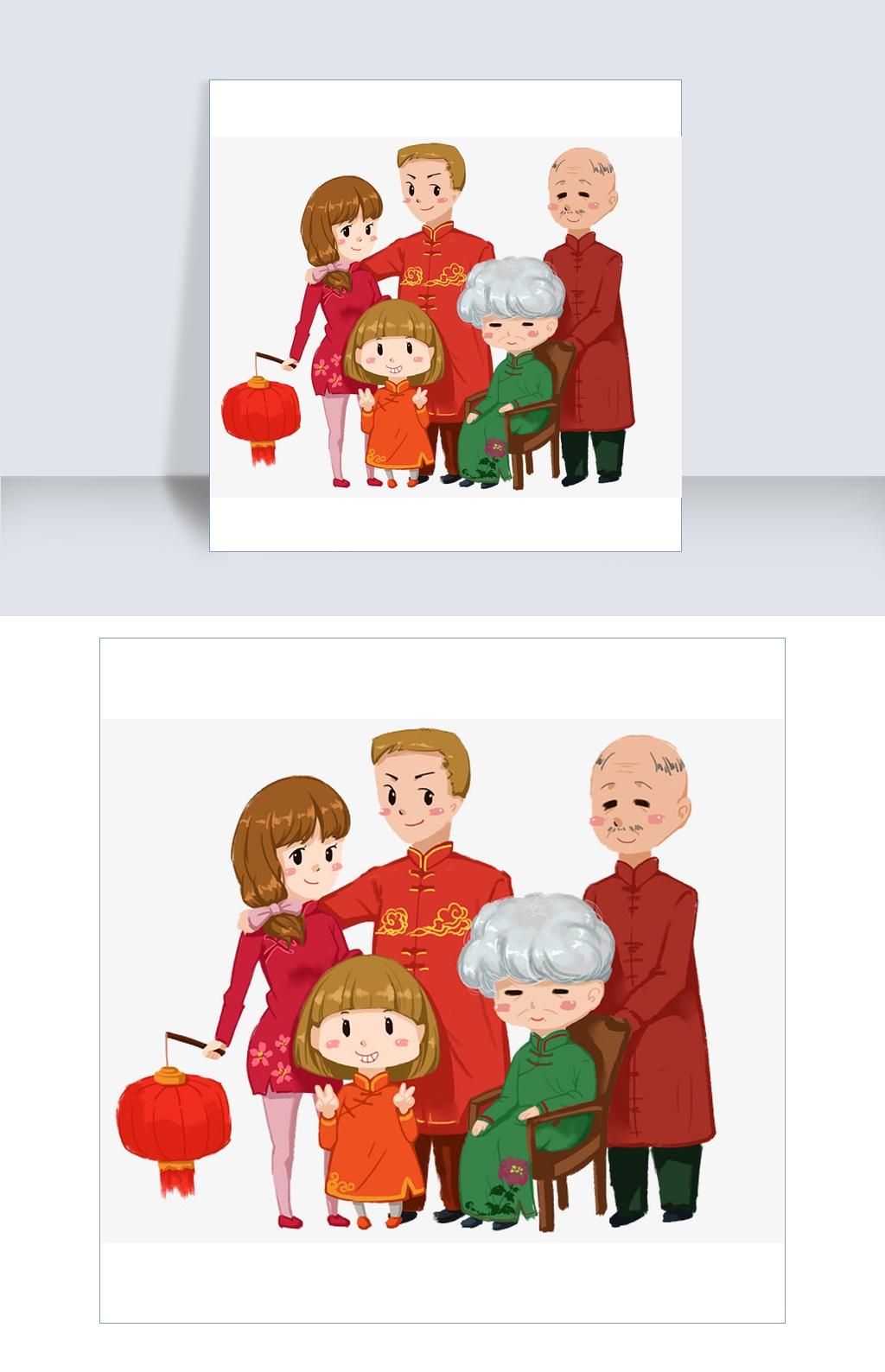 手绘五口之家全家福图片素材 其他格式 下载 动漫人物大全
